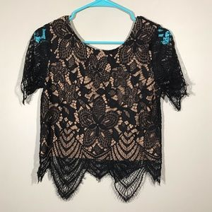 Express Black Lace Short Sleeve Top XS